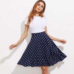 Hidden Pocket Detail Polka Dot Circle Skirt